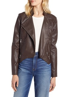 Halogen® Peplum Faux Leather Moto Jacket