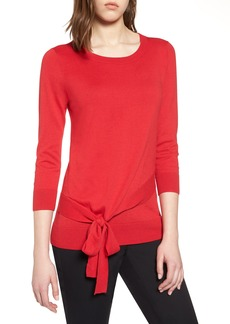 Halogen® Pima Cotton Blend Tie Sweater