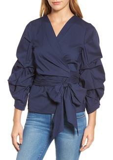 Halogen® Pintuck Blouson Sleeve Wrap Top (Regular & Petite)