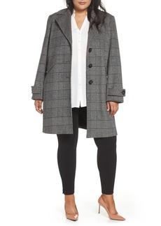Halogen® Plaid Mix Wool Blend Coat (Plus Size)