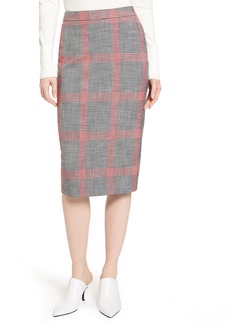 Halogen® Plaid Pencil Skirt (Regular & Petite)