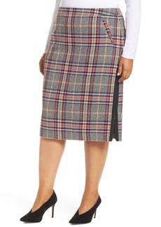 Halogen® Plaid Pencil Skirt (Regular & Petite)