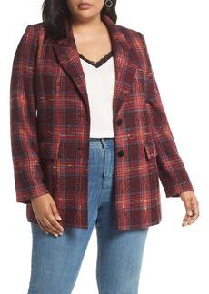 Halogen® Plaid Tweed Blazer (Plus Size)