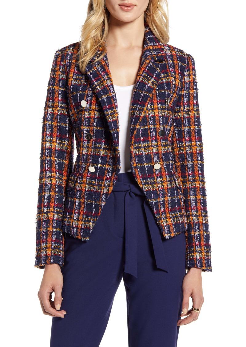 Halogen® Plaid Tweed Jacket (Regular & Petite)