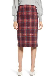 Halogen® Plaid Tweed Pencil Skirt (Regular & Petite)