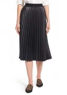 Halogen® Pleat Faux Leather Skirt (Regular & Petite)