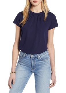 Halogen® Pleat Front Crepe Top (Regular & Petite)