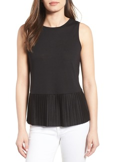 Halogen® Pleat Peplum Tank (Regular & Petite)