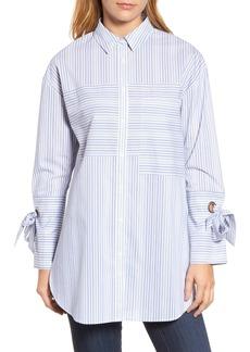Halogen® Pocket Detail Stripe Tunic Top (Regular & Petite)