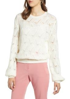 Halogen® Pointelle Balloon Sleeve Sweater (Regular & Petite)