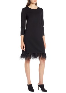 Halogen® Ponte Feather Trim Shift Dress (Regular & Petite)