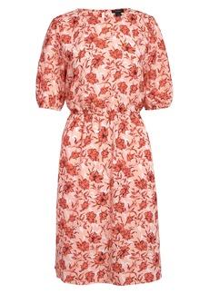 Halogen® Print Blouson Sleeve Dress