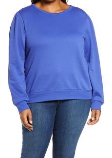 Halogen® Puff Sleeve Sweatshirt (Plus Size)