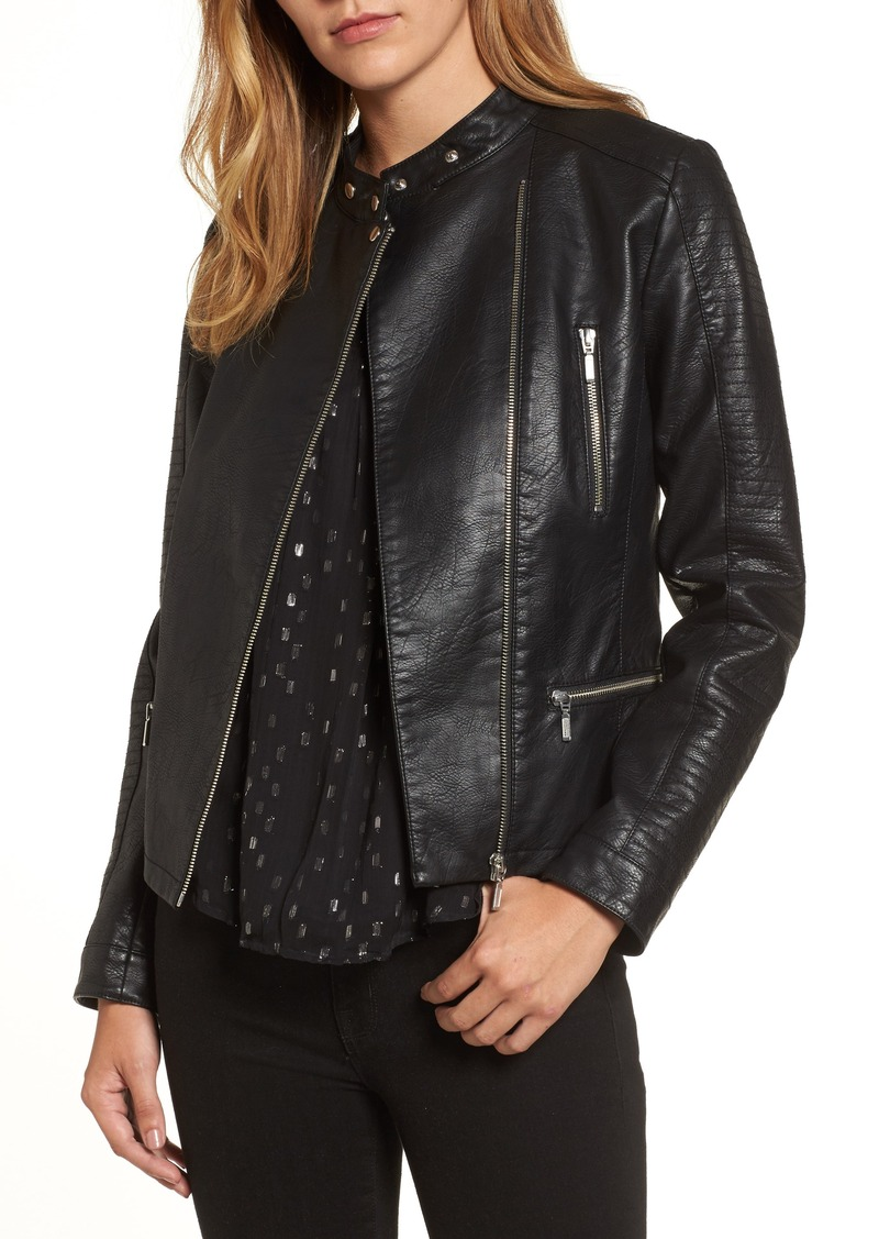 Halogen® Quilted Faux Leather Moto Jacket (Regular & Petite)