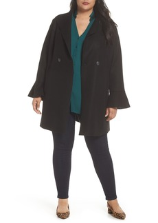 Halogen® Raw Edge Bell Sleeve Coat (Plus Size)