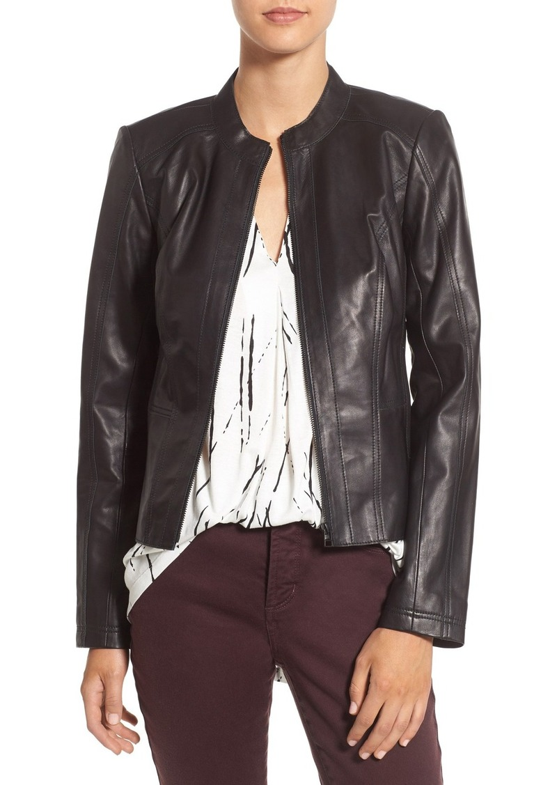 Halogen® Raw Edge Pieced Leather Jacket (Regular & Petite)