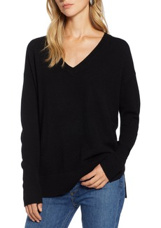 Halogen® Relaxed V-Neck Cashmere Sweater (Regular & Petite)