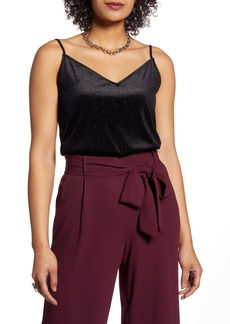 Halogen® Ribbed Metallic Detail Velvet Camisole