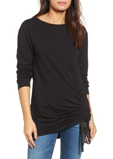Halogen® Ruched Front Tunic Sweatshirt