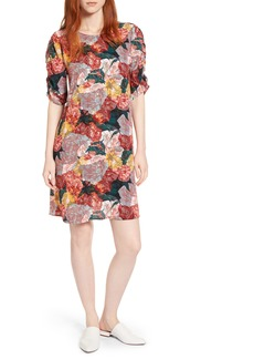 Halogen® Ruched Sleeve Crepe Dress (Regular & Petite)