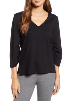 Halogen® Ruched Sleeve Top (Regular & Petite)