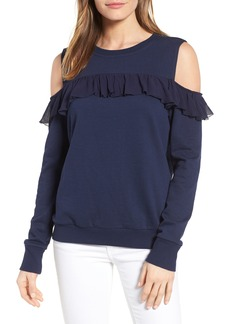 Halogen® Ruffle Cold Shoulder Sweatshirt (Regular & Petite)