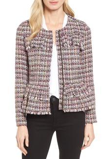 Halogen® Ruffle Detail Tweed Jacket (Regular & Petite)