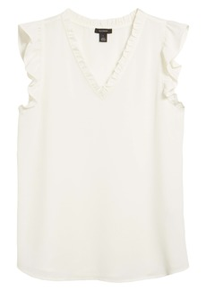 Halogen® Ruffle Detail V-Neck Shell