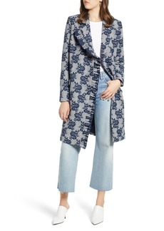 Halogen® Ruffle Front Topper Coat