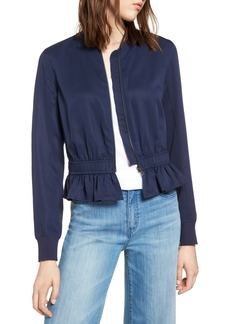 Halogen® Ruffle Hem Zip Front Jacket (Regular & Petite)