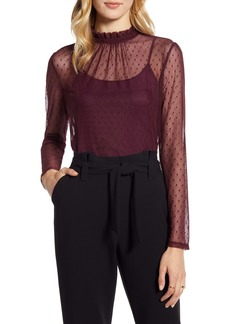 Halogen® Ruffle Neck Swiss Dot Mesh Top