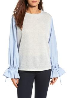 Halogen® Ruffle Poplin Sleeve Sweatshirt (Regular & Petite)