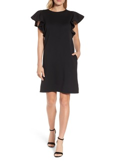 Halogen® Ruffle Sleeve Neoprene Shift Dress (Regular & Petite)