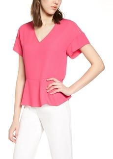 Halogen® Ruffle Sleeve Peplum Stretch Cotton Blend Top (Regular & Petite)