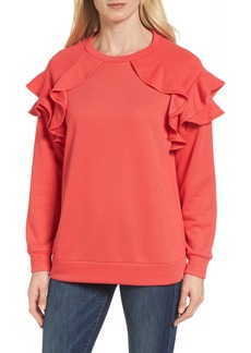 Halogen® Ruffle Sweatshirt (Regular & Petite)