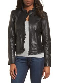 Halogen® Ruffle Trim Leather Jacket