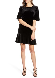 Halogen® Ruffle Trim Velvet Dress