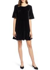 Halogen® Ruffle Trim Velvet Dress (Regular & Petite)