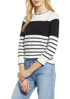 Halogen® Scallop Neck Sweater (Regular & Petite)
