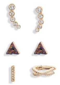 Halogen® Set of 3 Earrings & Ear Cuffs