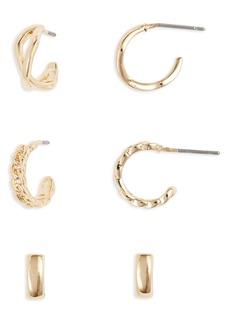Halogen® Set of 3 Huggie Hoop Earrings