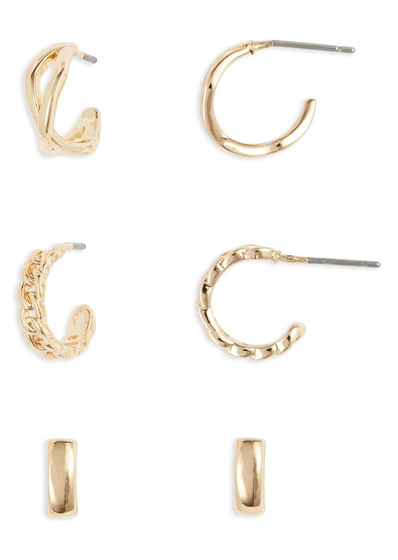 Halogen® Set of 3 Huggie Hoop Earrings
