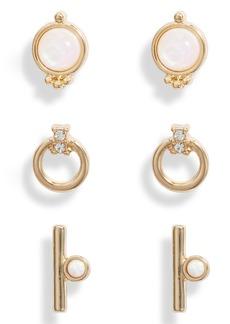 Halogen® Set of 3 Opal, Crystal & Mother-of-Pearl Stud Earrings