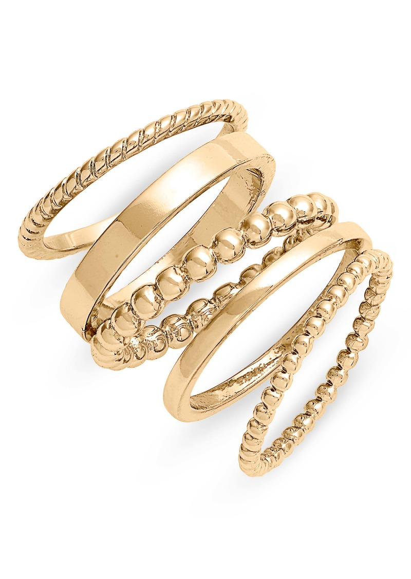 Halogen® Set of 5 Mixed Texture Stackable Rings