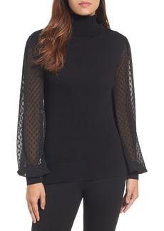 Halogen® Sheer Sleeve Turtleneck Sweater (Regular & Petite)