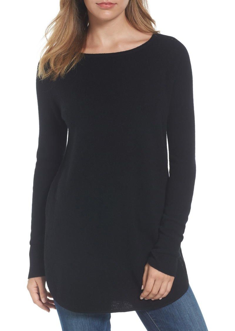 Halogen® Shirttail Wool & Cashmere Boatneck Tunic