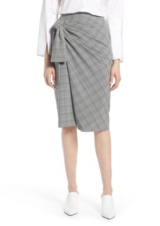 Halogen® Side Tie Plaid Pencil Skirt (Regular & Petite)