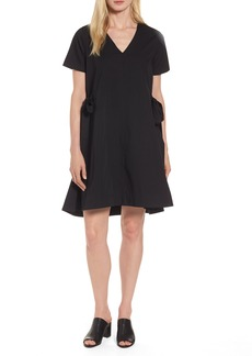 Halogen® Side Tie Poplin Trapeze Dress (Regular & Petite)