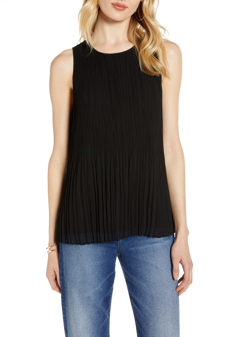 Halogen® Sleeveless Pleated Georgette Top