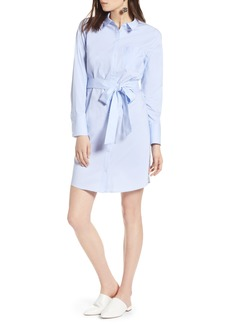 Halogen® Stretch Cotton Poplin Shirtdress (Regular & Petite)